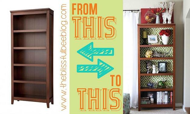 DIY bookshelf makeover with fabric