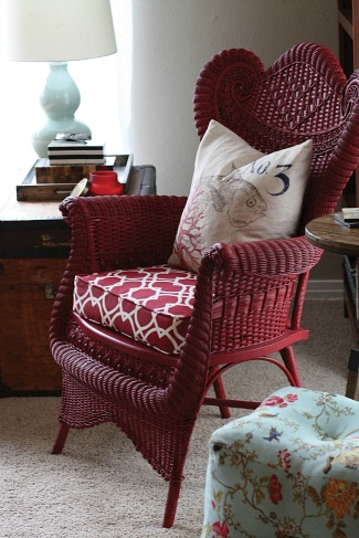 red wicker chair-Blissful Bee