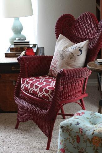red wicker chair-Blissful Bee