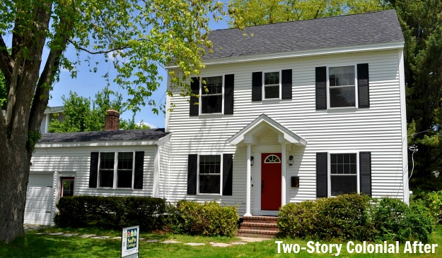 two story Colonial after remodel Before & After: Turning a Small Ranch Into a 2 Story House