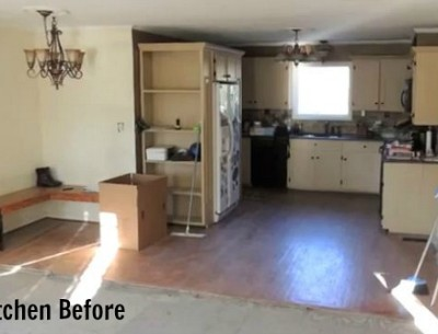 A view of a kitchen before remodel