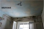 Mural on ceiling of half bath before