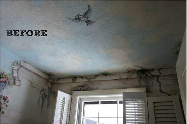 Mural on ceiling of half bath before