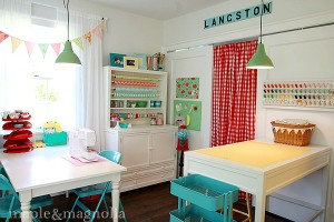 Susan's colorful sewing studio