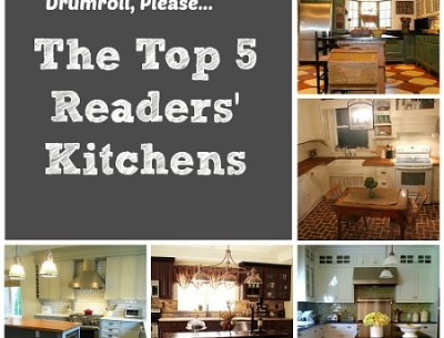 collage of photos of readers' kitchens with words that say Top 5 Readers' Kitchens