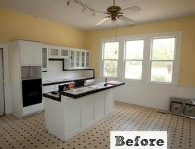 yellow kitchen before makeover
