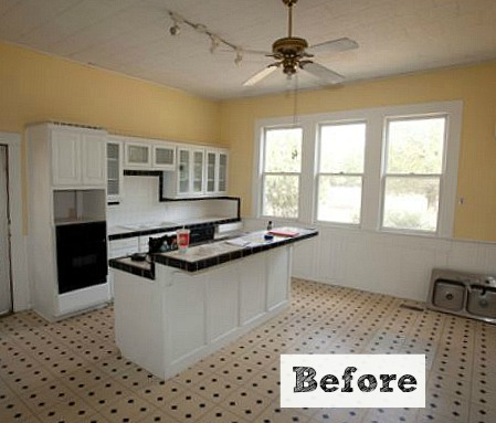 Before after kim creates a new vintage kitchen in texas - Retro flooring kitchen ...