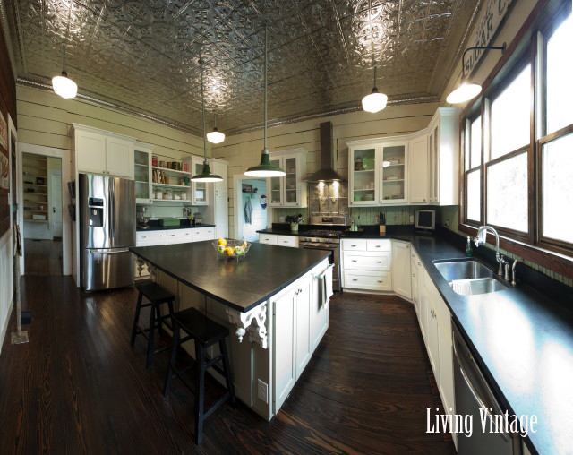 kitchen with tin ceiling after remodel