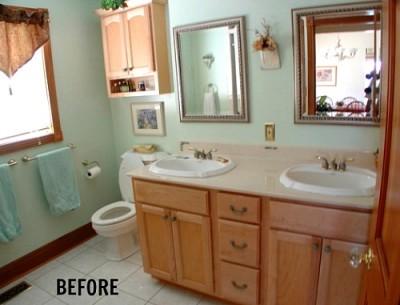 """Farmhousing Up"" a Basic Bathroom"