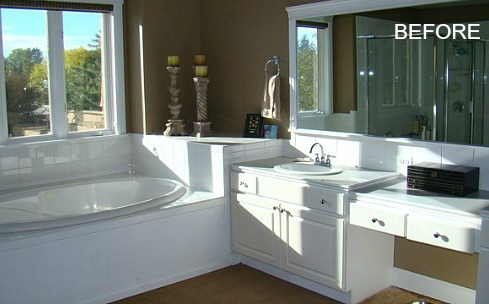 Angie 39 s master bath remodel in colorado hooked on houses for Bathroom renovation before and after