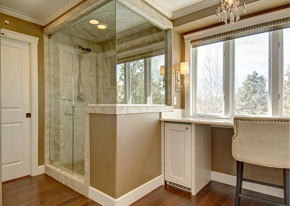 Angie 39 s master bath remodel in colorado hooked on houses for Master bathrooms without bathtubs