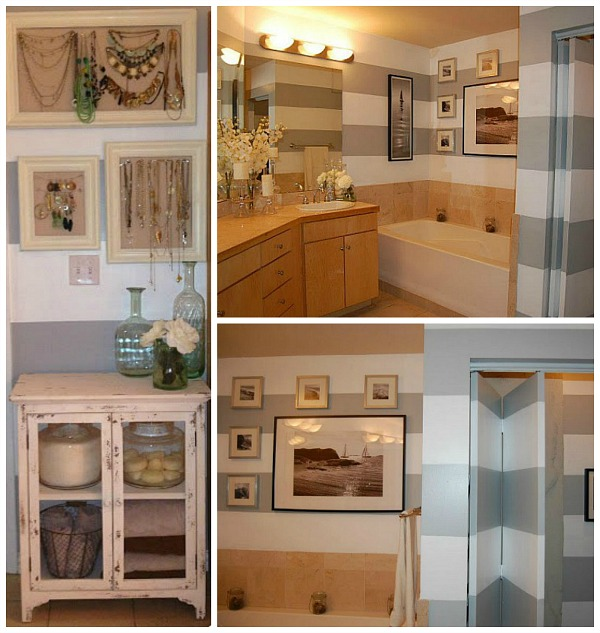 collage of remodeled bathroom photos with gray and white striped walls
