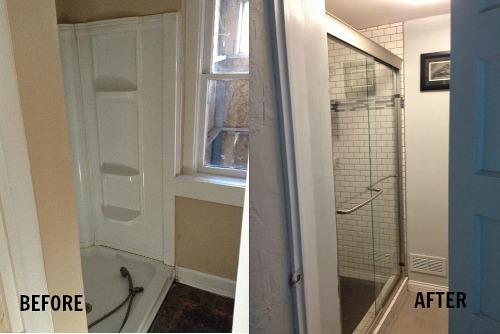 Derek's bathroom before and after