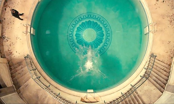 Gatsby's round pool with JG monogram