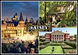 collage of photos of houses from Great Gatsby movie with logo in center