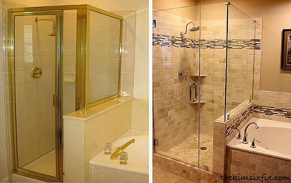 Kim Six Fix shower before and after