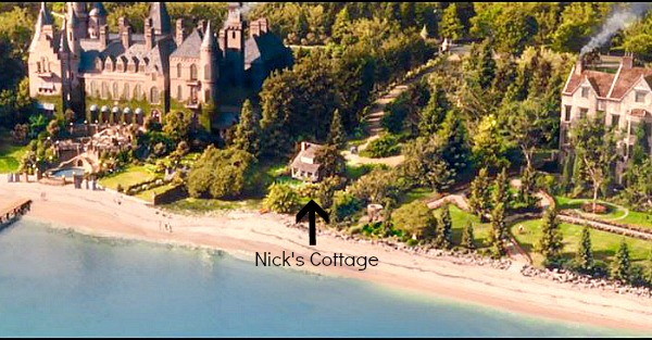 Long Island West Egg Gatsby's house and Nick's cottage marked