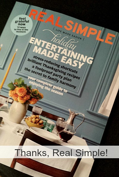 Real Simple magazine Nov 2013 blog mention