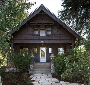 Rustic Craftsman in Steamboat Springs front exterior with porch