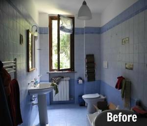 purple bathroom before remodel
