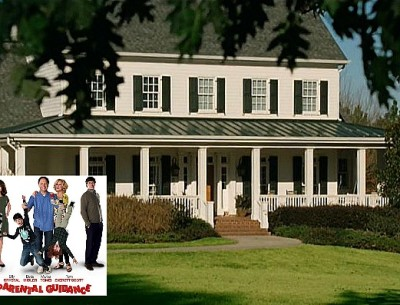 front exterior of white house with green shutters in Parental Guidance movie