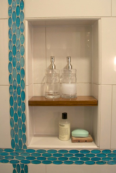 built-in shelves in new shower