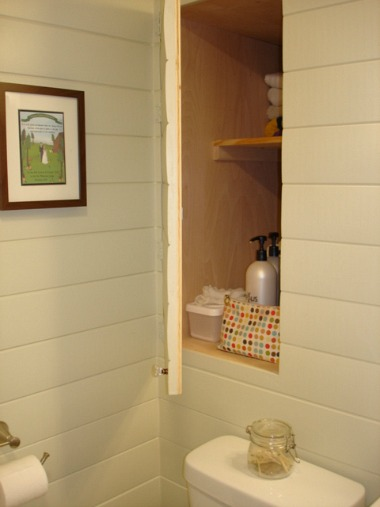 Before after giving a small bathroom some character - Bathroom mirror with hidden storage ...