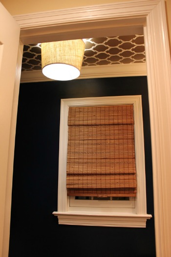 lampshade on powder room ceiling
