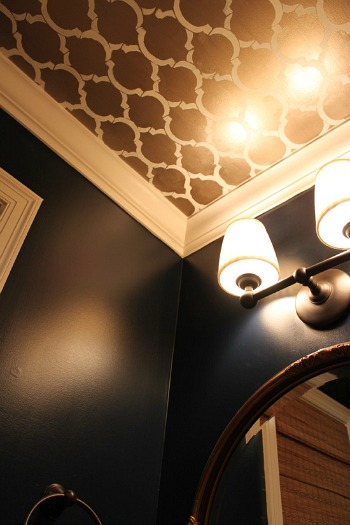 powder room ceiling stencil