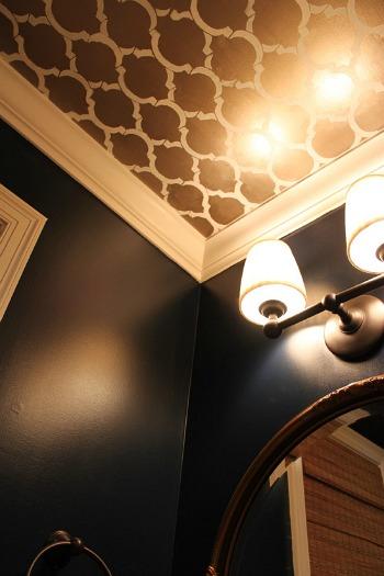 powder room ceiling stencil