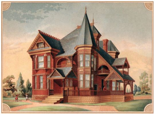 Engraving of Victorian home 1880s Kansas City MO