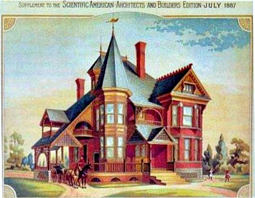 Queen Anne Victorian James W Bryan house illustration July 1887