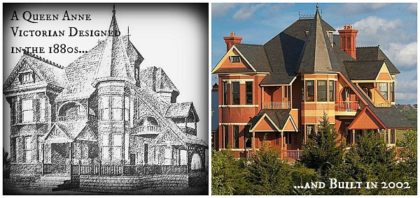 original Victorian shown beside newly built one with same floor plan
