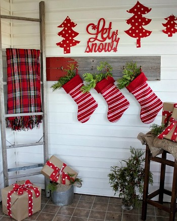 Red Christmas mudroom Creek Line House