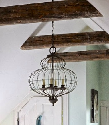 antique beams and chandelier