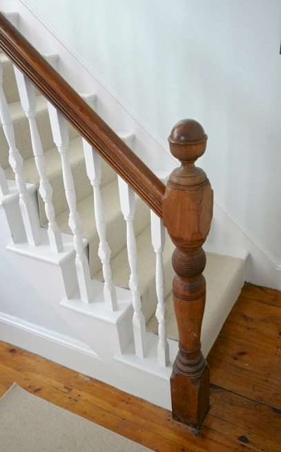 closeup of staircase newell