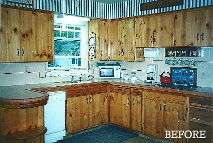 Candice's kitchen before-knotty pine cabs