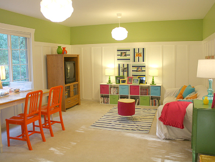 Limeade Paint Color by Valspar in Playroom