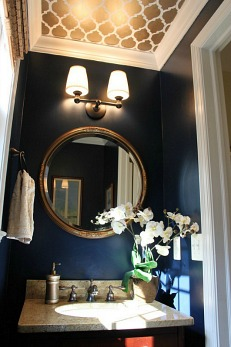 Naval paint by Sherwin-Williams in Melissa's Powder Room