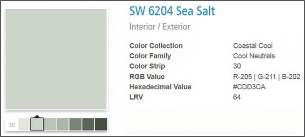 Sherwin Williams Sea Salt SW6204