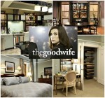 collage of photos from The Good Wife apartment sets and series logo inset