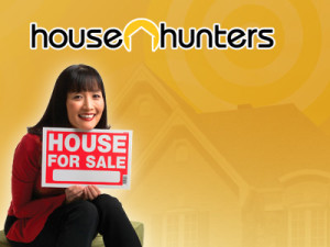 Suzanne Whang holding a sign saying House For Sale with House Hunters logo