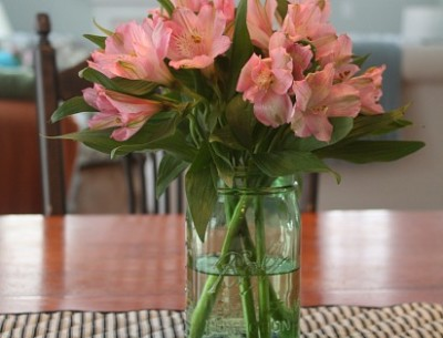 pink flowers in green Ball Jars 2-14