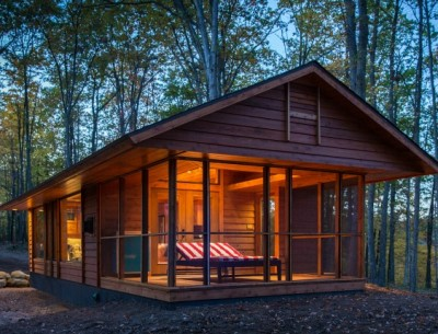 small cabin with screened porch