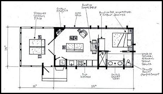 ESCAPE Cabin by Architect Kelly Davis floorplan