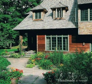 front exterior of artist Lark Upson's Arts and Crafts style cottage in Vermont