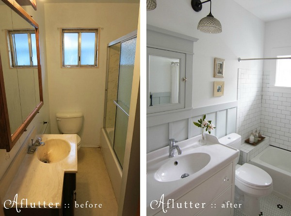 How sarah made her small bungalow bath look bigger for Before and after small bathroom makeovers