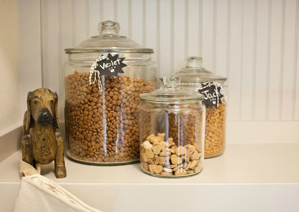 canisters with dog food and treats
