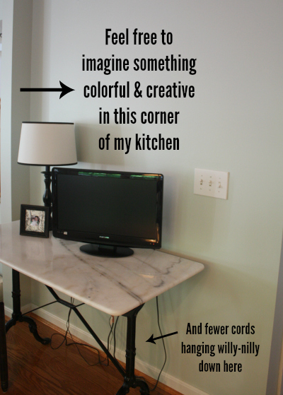 Blank wall in Kitchen over Marble Table 5-14