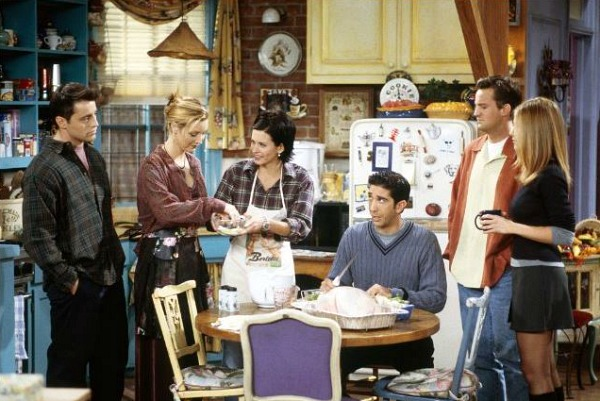 Cast of Friends in Monica's Purple Kitchen